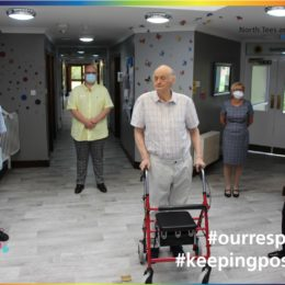 Care home team and resident from Teesdale Lodge Nursing Home praise trust staff for their support