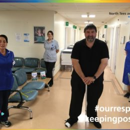 High risk foot team and a patient in the main waiting area at North Tees Outpatients