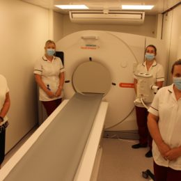 Some of the team using the relocatable tomography scanner