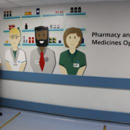 New wall mural has pride of place outside of the Pharmacy department at North Tees Hospital