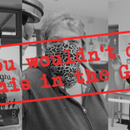 Image of an aggressive gym user with overlay of text saying 'you wouldn't do this in a gym'