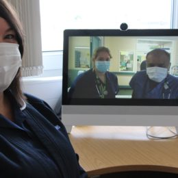 Julie Sinclair, lead diabetes nurse (seated) demonstrates the VADER system with colleagues Foundation Year One Dr. Kathleen Warner and consultant Dr Sony Anthony (on-screen, left to right)