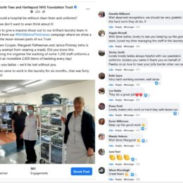 Screen shot of laundry team Facebook post and comments
