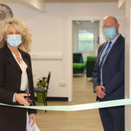 Trust chief executive Julie Gillon and chair of governors Paul Garvin open the University Hospital of North Tees Rainbow Room.