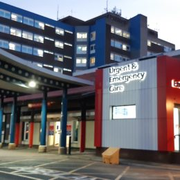 The new Urgent and Emergency Care Centre entrance at dusk