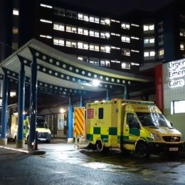 The new Urgent and Emergency Care Centre all lit up at Night