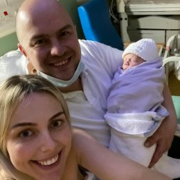 Rachel Taylor and Scott Gretton with their new baby