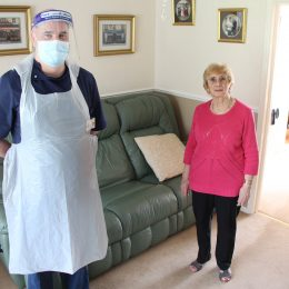Patient Brenda Barrett with tissue viability nurse Andy Brown after suffering a leg wound injury