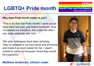 Social Media cards of Matthew Andersen which the Trust has issued as part of its commitment to Pride month
