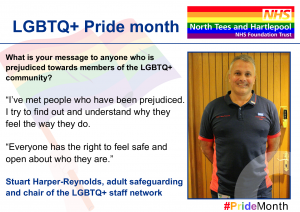 Social Media card of Stuart Harper-Reynolds which the Trust has issued as part of its commitment to Pride month