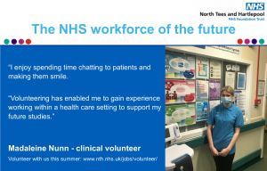 """Clinical volunteer Madaleine Nunn said """"I enjoy spending time chatting to patients and making them smile. Volunteering has enabled me to gain experience working within a health care setting to support my future studies."""""""